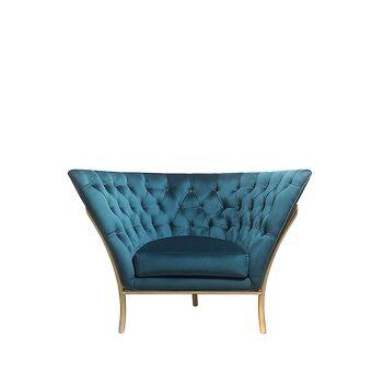 כורסא קפיטונג' טווס בצבע כחול