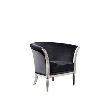 כורסא שחורה בשילוב רגלי עץ כסופות
