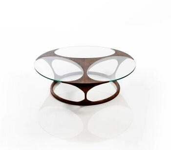 שולחן סלוני עץ בשילוב זכוכית