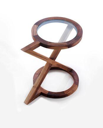 שולחן צד עגול בשילוב עץ וזכוכית
