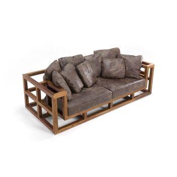 ספה תלת מושבית ייחודית מעץ