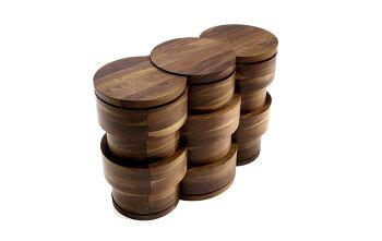 שידת מגירות מעץ מעוצבת שלושה עיגולים