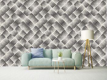 טפטים לסלון – טפט גאומטרי בשחור לבן