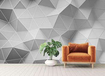 טפטים לסלון – טפט גאומטרי תלת מימדי בשחור לבן
