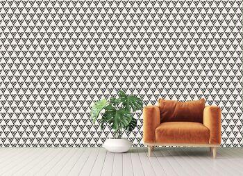 טפטים לסלון – טפט גאומטרי משולשים בשחור לבן