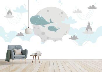 טפט לוויתנים לחדרי ילדים