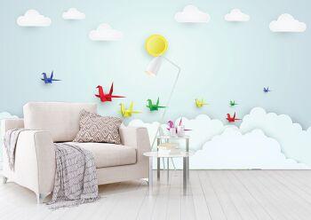 טפט אוריגמי ציפורים לחדרי ילדים