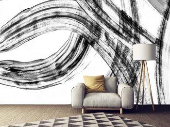 טפט מופשט לבית בצבעי שחור לבן