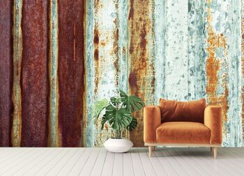 טפטים מיוחדים לסלון – טפט מתכת חלודה