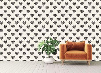טפטים מיוחדים לבית – פטרן לבבות בשחור לבן