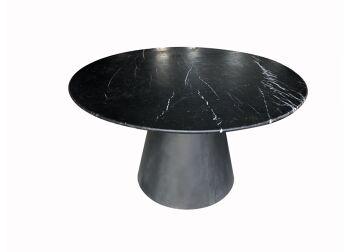 שולחן אוכל עגול שחור – מרבל