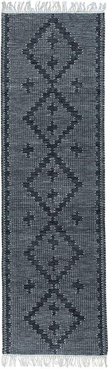 Double grey – שטיח בעבודת יד מפוליאסטר מאורך למסדרון ולמטבח בצבע אפור.
