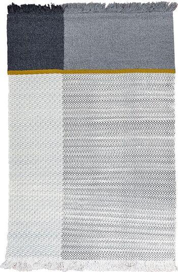 דגם Zig yellow/grey – עבודת יד מצמר ומעט כותנה