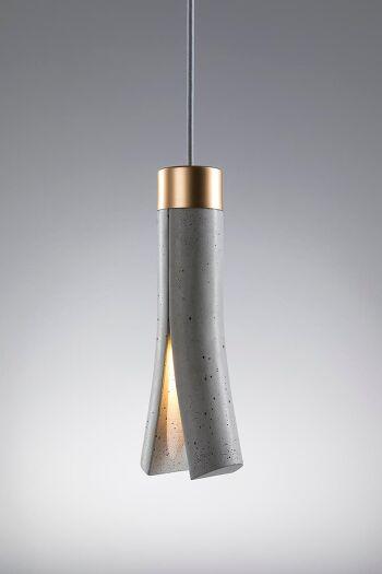 SPLIT מנורה תלויה מבטון בצבע אפור וזהב