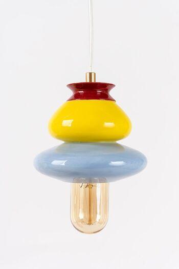 מנורה קרמית תכלת צהוב