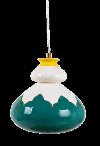 מנורה קרמית ירוקה