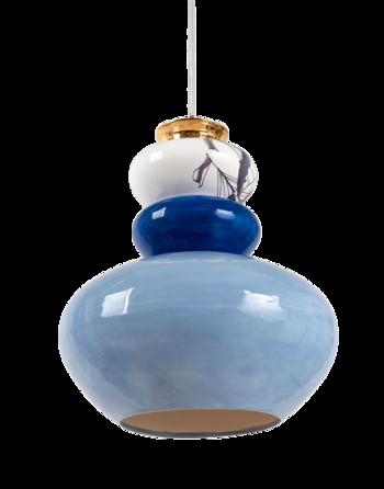 מנורה קרמית כחולה