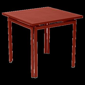 שולחן אוכל ריבועי לגינה בצבע בורדו PIMENT