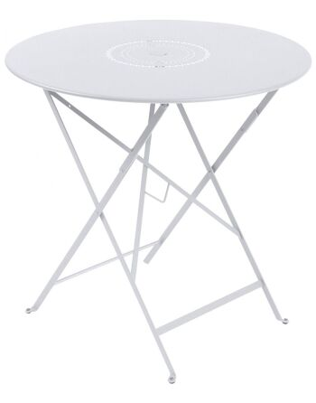 שולחן אוכל עגול מתקפל לגינה לבן