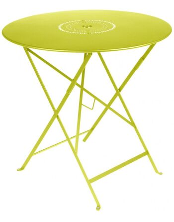 שולחן אוכל עגול מתקפל לגינה צהוב