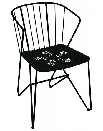 כסא אוכל לגינה Flower שחור