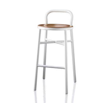 כסא בר Pipe לבן עם מושב עץ