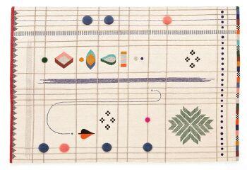שטיח מלבני שמנת עם טקסטורה צבעונית מעודנת RABARI 2