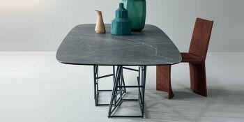 שולחן אוכל מלבני עם רגל ייחודית Tangle