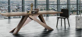 שולחן אוכל מלבני עם רגל ייחודית משטח אגוז