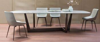 שולחן אוכל מלבני משטח שיש ART משטח שיש קלקטה