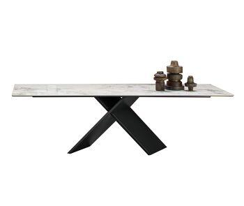 שולחן אוכל מלבני משטח קלקטה עם רגל מרכזית X