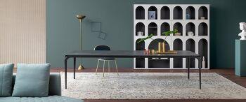 שולחן אוכל מלבני שחור DELTA משטח שיש אפור כהה