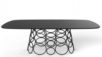 שולחן אוכל מלבני עם רגל מרכזית ייחודית HULAHOOP זכוכית שחורה מט
