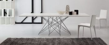 שולחן אוכל מלבני לק לבן עם רגל מרכזית OCTA –