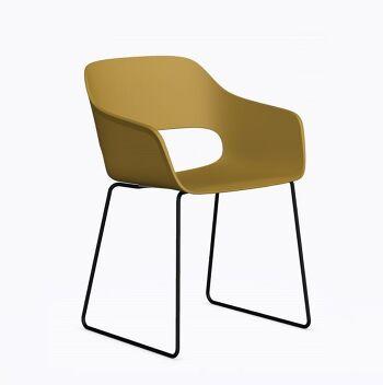 כסא אוכל בצבע חרדל