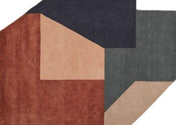 שטיח גאומטרי בגוונים חום וכחול