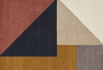 שטיח גאומטרי משולשים חרדל כחול ורוד