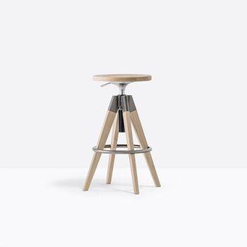 כסא בר בצבע עץ בשילוב אפור