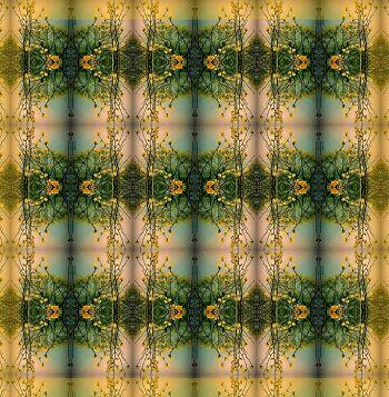 הדפס טקסטיל אמנותי בגווני ירוק, חרדל.