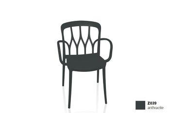 כסא פינת אוכל עם ידיות, בצבע שחור Galaxy