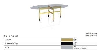 שולחן אוכל אובלי גלמורה גימור זכוכית מעושנת רגל מוזהבת