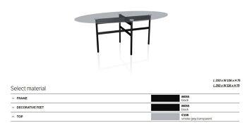שולחן אוכל אובלי גלמורה גימור זכוכית מעושנת ורגל שחורה