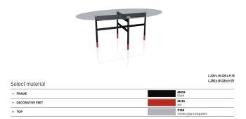 שולחן אוכל אובלי גלמורה גימור זכוכית מעושנת רגל שחורה