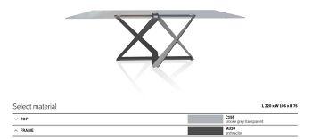שולחן אוכל מילניום גימור זכוכית מעושנת רגל אפורה