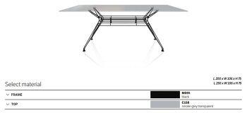 שולחן אוכל אובלי סנדר גימור זכוכית מעושנת רגל שחורה