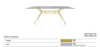 שולחן אוכל אובלי סנדר גימור זכוכית מעושנת רגל מוזהבת