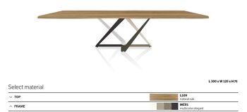 שולחן אוכל מילניום גימור עץ אלון רגל מגוונת